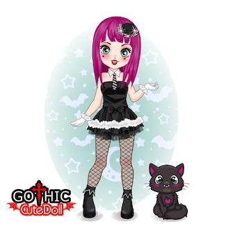 Coleção de boneca gótica fofa e mascote de gato