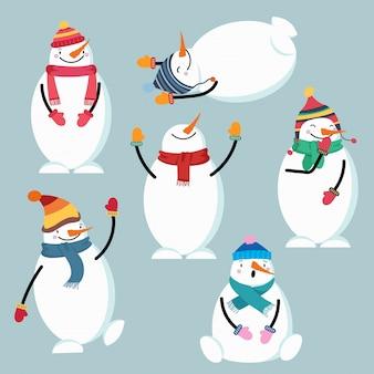 Coleção de boneco de neve design plano bonito