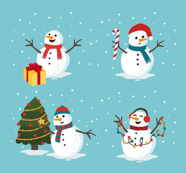 Coleção de bonecos de neve de natal
