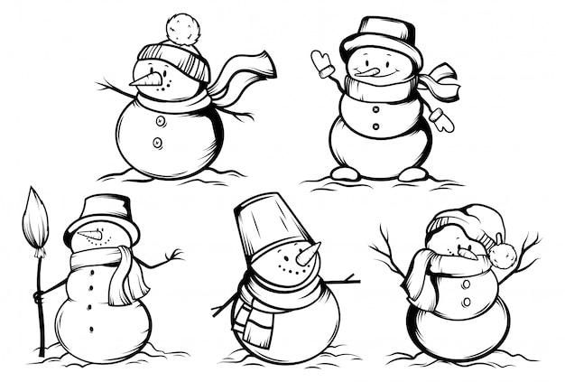 Coleção de bonecos de neve engraçados em chapéus embrulhados em lenços.