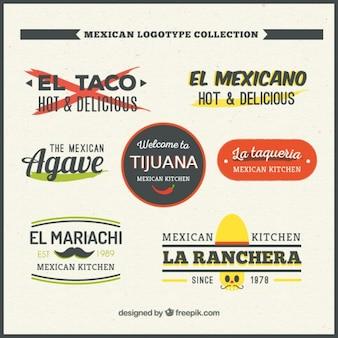 Coleção de bonito logotipo mexicano plana