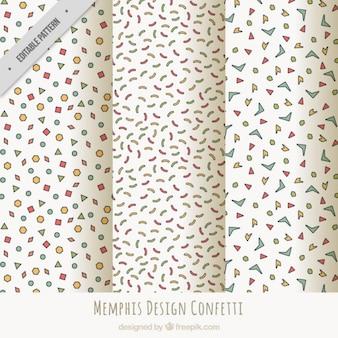 Coleção de bons padrões com confetti e flâmula