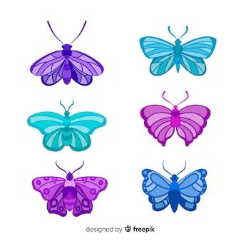 Coleção de borboleta colorida realista