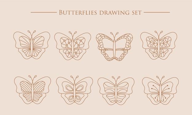 Coleção de borboletas bela natureza voando, inseto exótico, borboletas mágicas, linha silhueta definida
