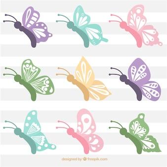 Coleção de borboletas bonitas com asas abstratas
