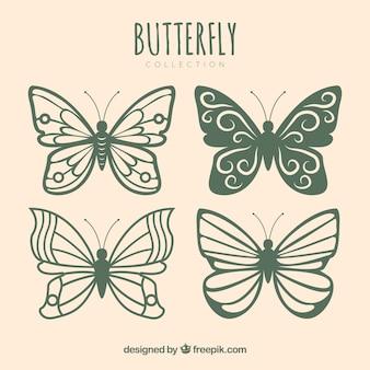 Coleção de borboletas bonitas com desenhos diferentes