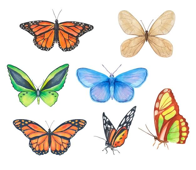 Coleção de borboletas coloridas em aquarela em diferentes posições, borboleta monarca