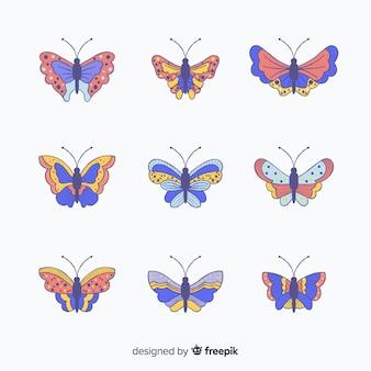 Coleção de borboletas coloridas mão desenhada