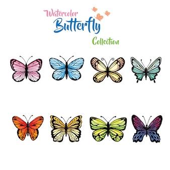 Coleção de borboletas de aquarela