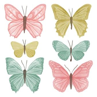 Coleção de borboletas em aquarela fofa
