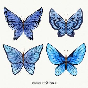 Coleção de borboletas em aquarela