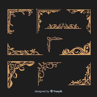 Coleção de borda ornamental dourada