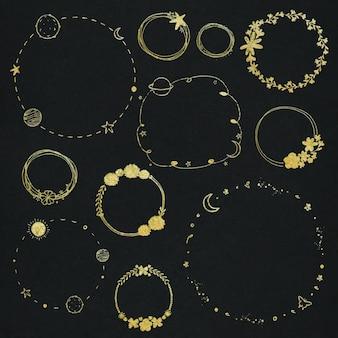 Coleção de bordas com efeito ouro em vetor
