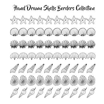 Coleção de bordas de conchas desenhadas a mão em preto e branco