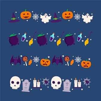 Coleção de bordas de halloween de design plano