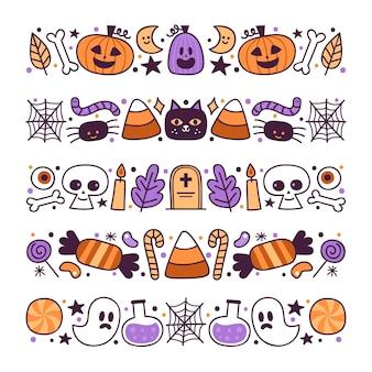 Coleção de bordas de halloween desenhada à mão