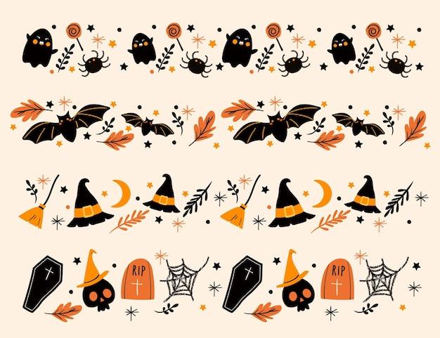 Coleção de bordas de halloween desenhada