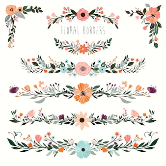Coleção de bordas florais decorativas