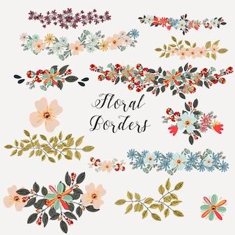 Coleção de bordas florais