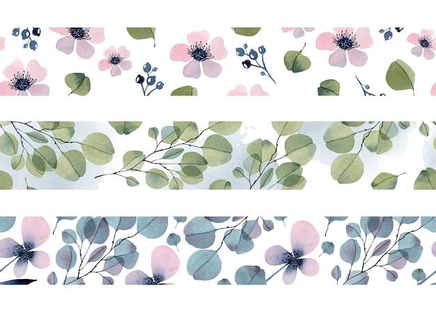 Coleção de bordas sem costura em aquarela floral de eucalipto