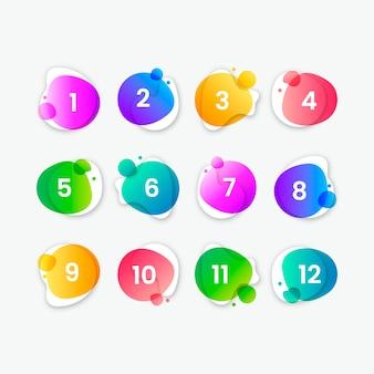 Coleção de botão colorido abstrato