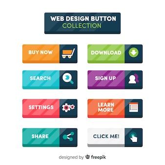 Coleção de botão colorido web design com design plano