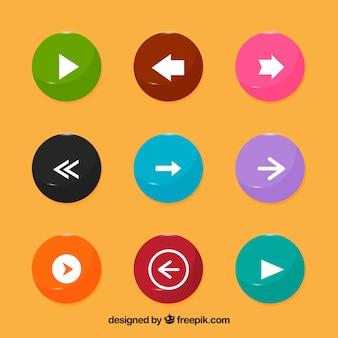 Coleção de botão com setas