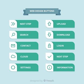 Coleção de botão moderno web design com design plano
