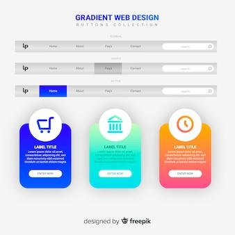 Coleção de botão web no estilo gradiente