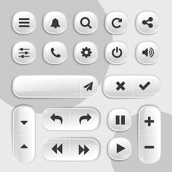 Coleção de botões 3d de elementos de interface do usuário e ux