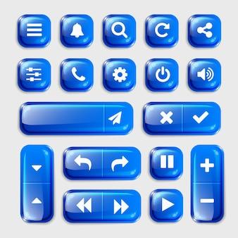 Coleção de botões 3d de elementos uxui