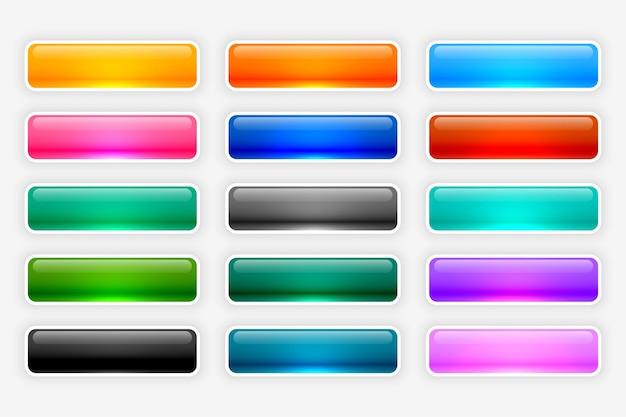 Coleção de botões brilhantes e brilhantes da web
