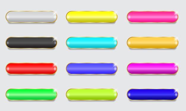Coleção de botões coloridos em branco para a interface do site.