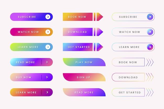 Coleção de botões cta de cor gradiente