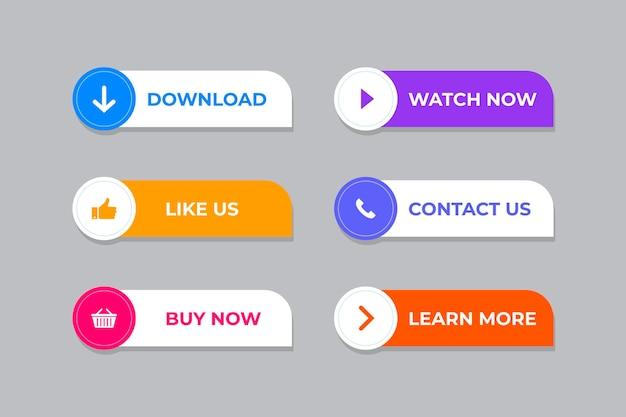 Coleção de botões cta de design plano