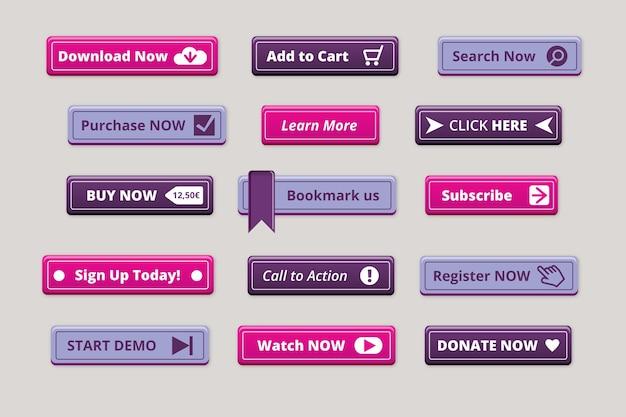 Coleção de botões de call-to-action de design plano