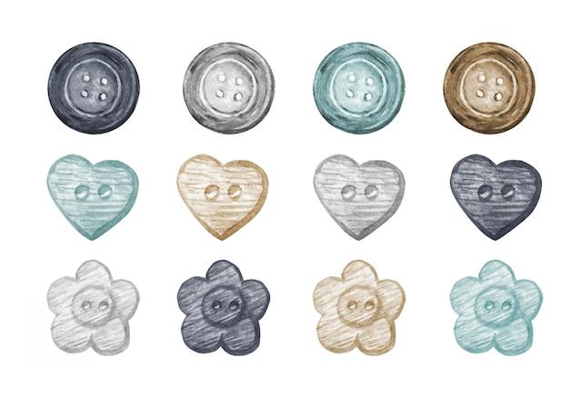 Coleção de botões de costura aquarela em estilo escandinavo.