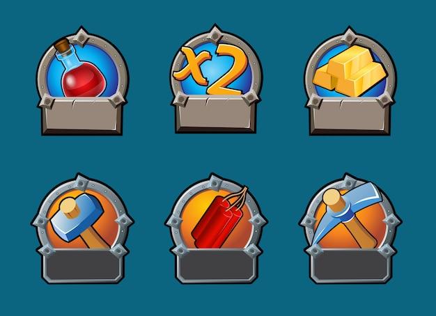 Coleção de botões de jogos de desenho animado