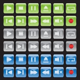 Coleção de botões do media player