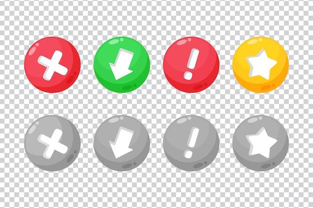 Coleção de botões redondos com sinal em fundo em branco