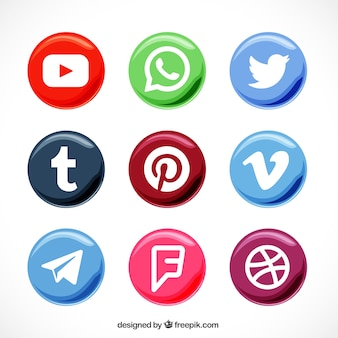 Coleção de botões redondos de redes sociais