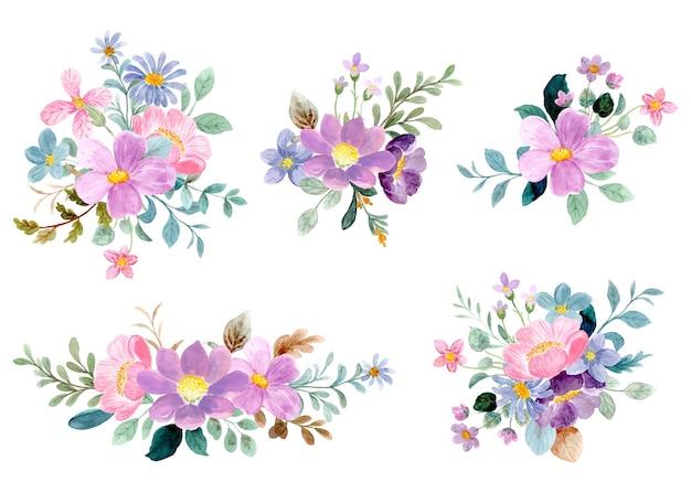 Coleção de bouquet floral colorido com aquarela