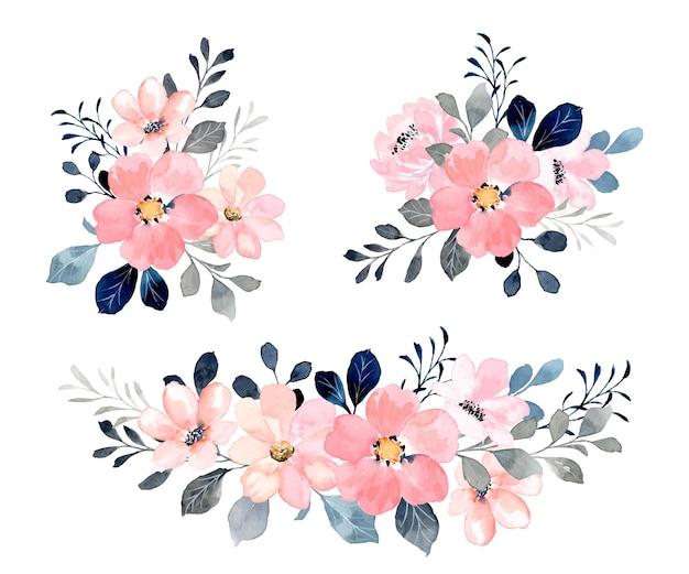 Coleção de bouquet floral rosa com aquarela
