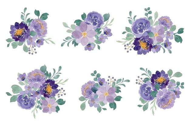 Coleção de bouquet floral roxo com aquarela