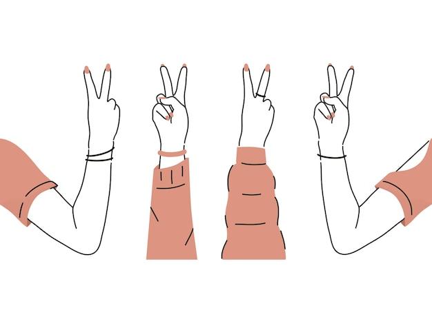 Coleção de braço segurando a paz com vista frontal e traseira desenhada à mão