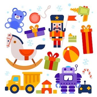 Coleção de brinquedos de natal de design plano
