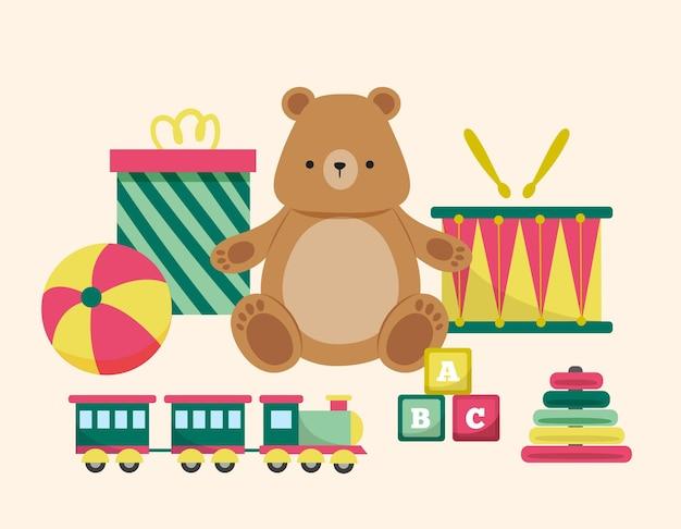Coleção de brinquedos de natal desenhada à mão