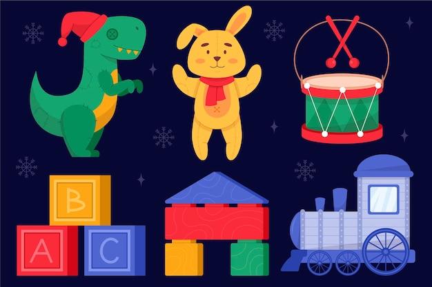 Coleção de brinquedos de natal desenhados à mão