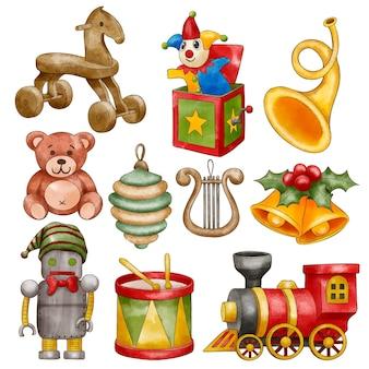Coleção de brinquedos de natal em aquarela
