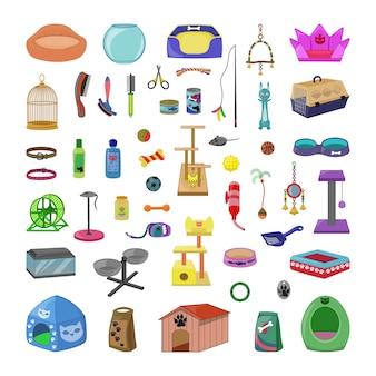 Coleção de brinquedos e acessórios para animais de estimação.